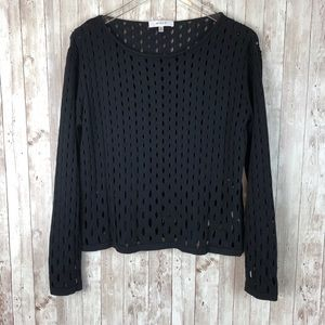 Milly | Black Cotton-Silk Cutout Cropped Sweater